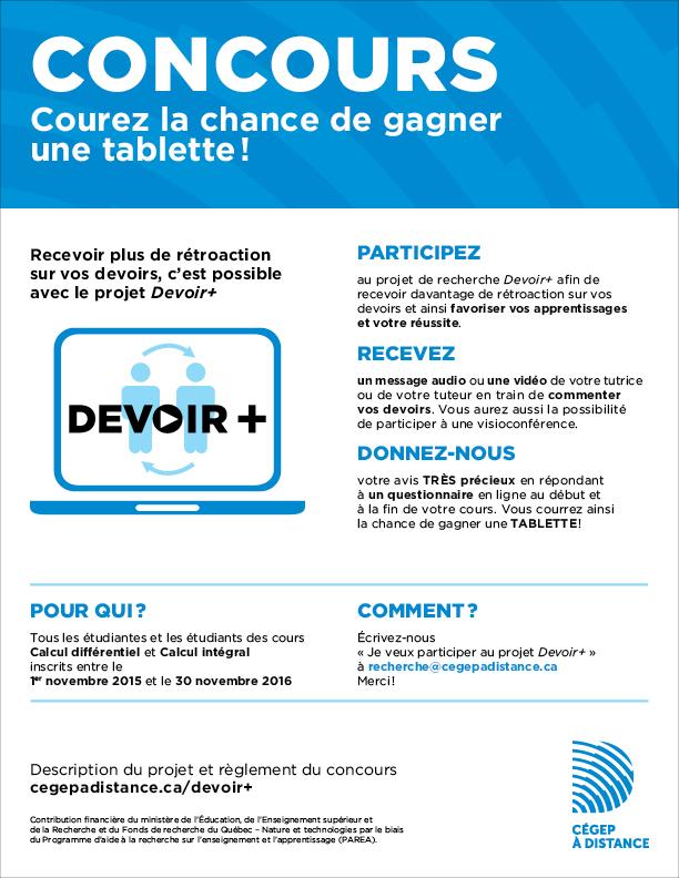 Participez au concours Devoir+ et courez la chance de gagner une tablette!